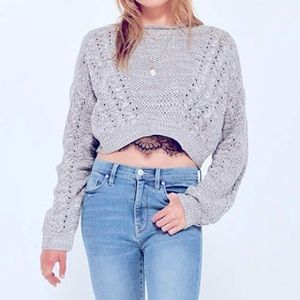 URBAN OUTFITTERS HIGH LOW CABLE KNIT SWEATER
